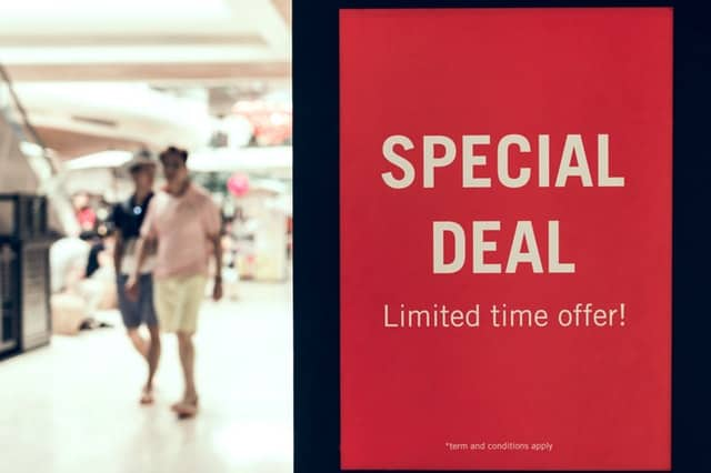 special deal sale sign shopping mall