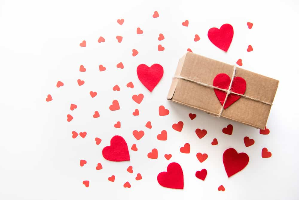 valentines heart brown paper package with twine