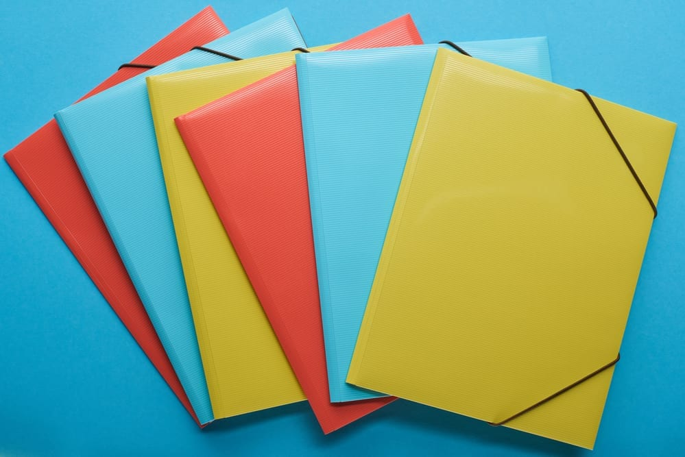 blue orange and yellow envelopes