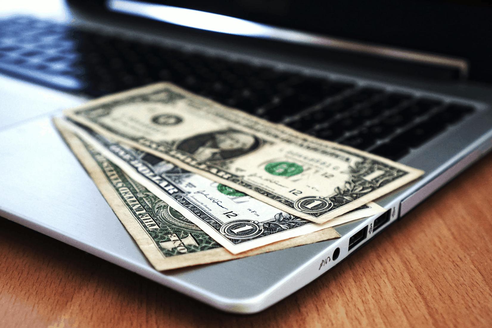 united states Money on laptop
