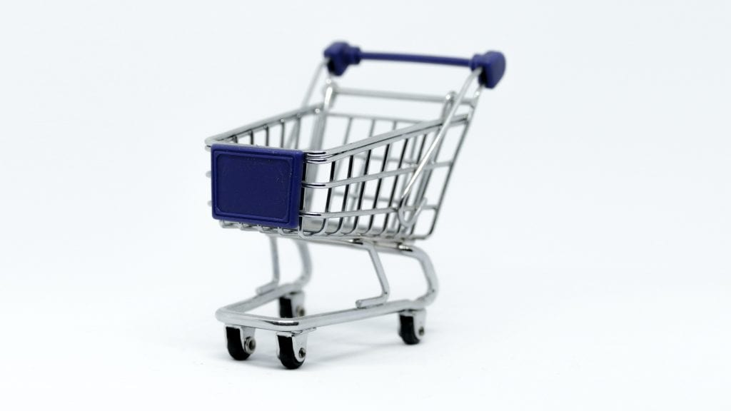 Gray Steel Shopping Cart