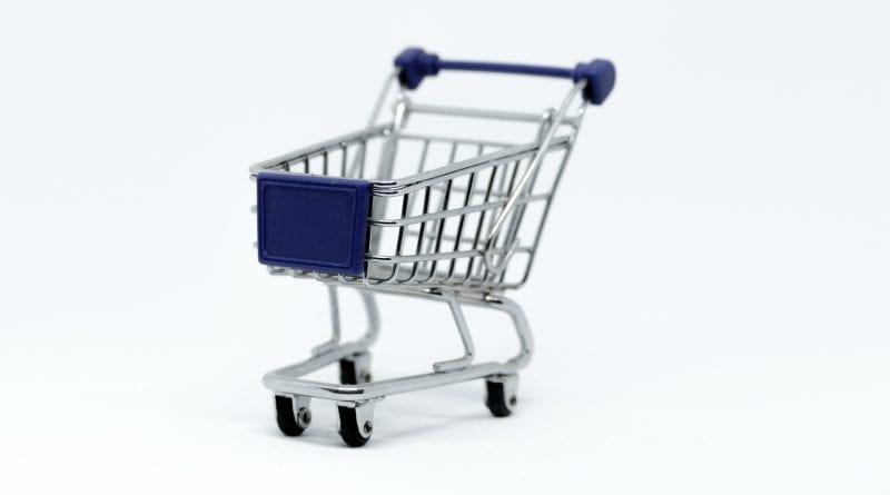 Gray Steel Shopping Cart