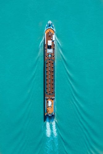 (Credit: Dominik Reiter) top view of a cruise ship blue water