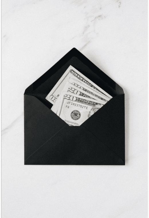 money in an envelope