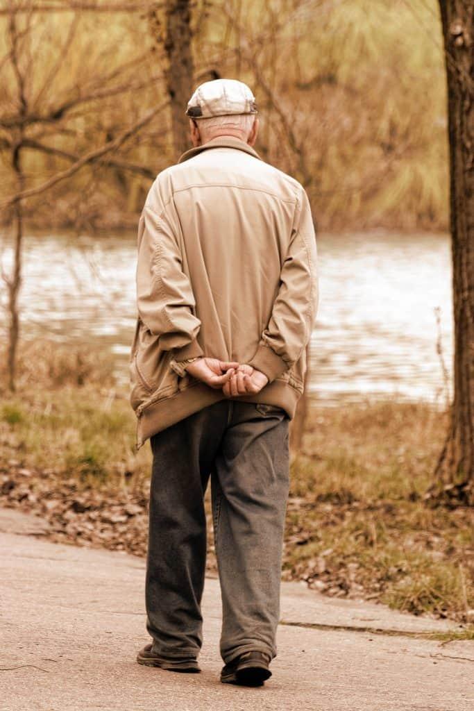 (credit candid shots) older man walking