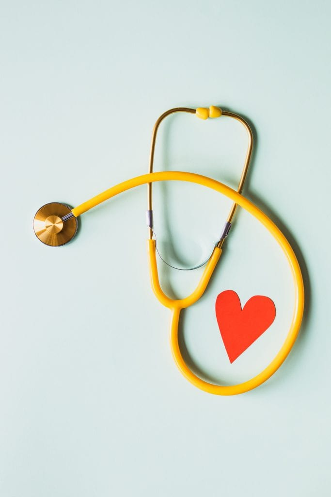 (credit Karolina Grabowska) yellow stethoscope with red heart