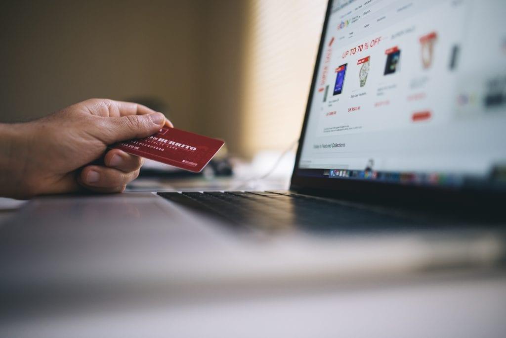 (credit negative space) credit card computer